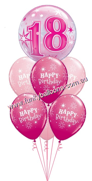 18th Pink Starburst Bubble Birthday Bouquet